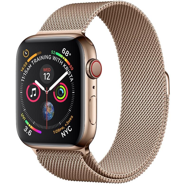 ساعت هوشمند اپل واچ سری 4 سلولار مدل 44mm Gold Stainless Steel Case with Gold Milanese Loop
