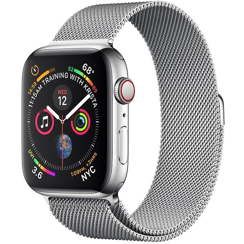 ساعت هوشمند اپل واچ سری 4 سلولار مدل 44mm Silver Stainless Steel Case with Silver Milanese Loop
