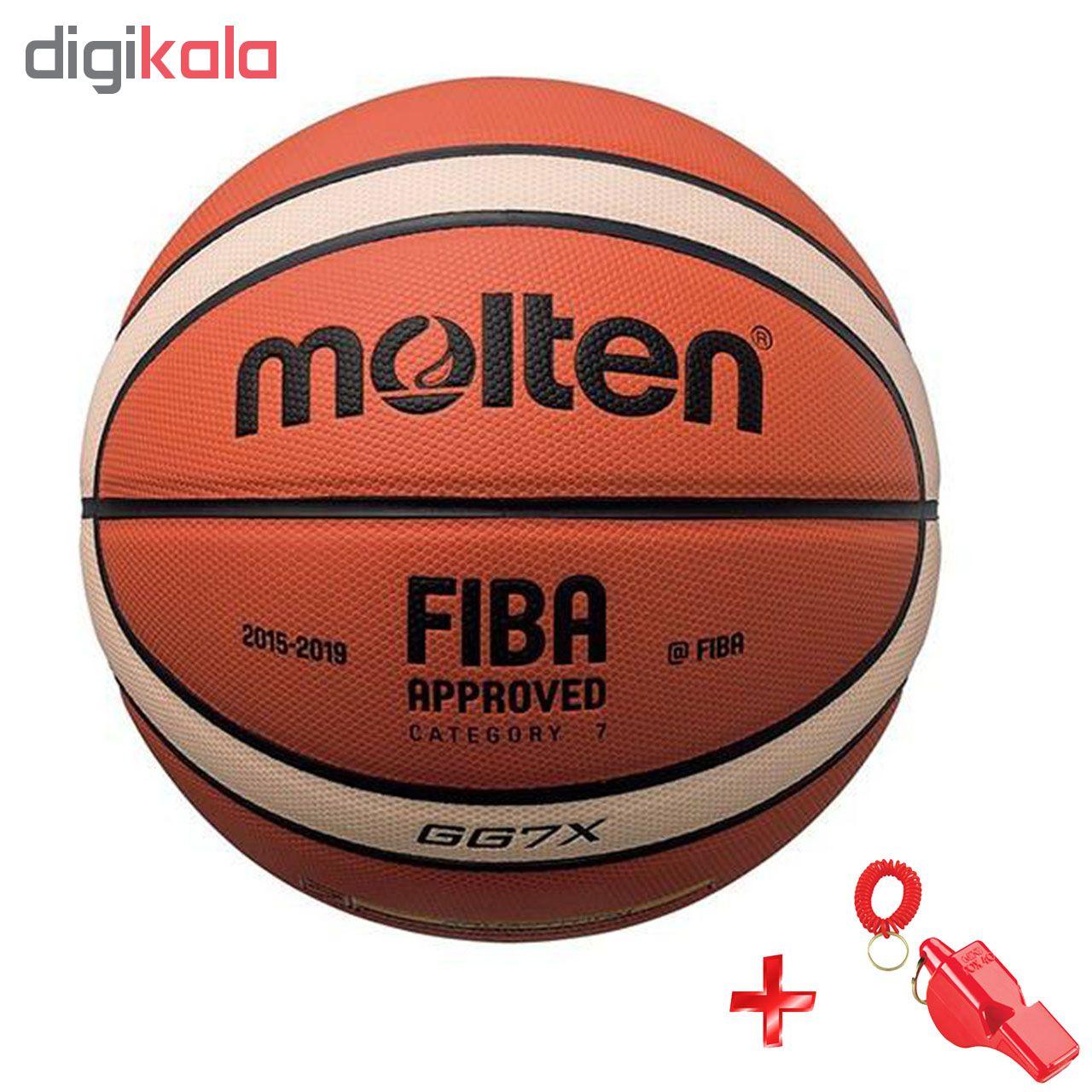 توپ بسکتبال مولتن مدل GG7X با تاییدیه فدراسیون به همراه سوت ورزشی سایز 7