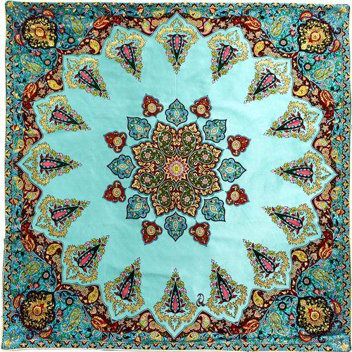 رومیزی ترمه ابریشم عدل کشمیر طرح سرو سایز 100x100 سانتی متر