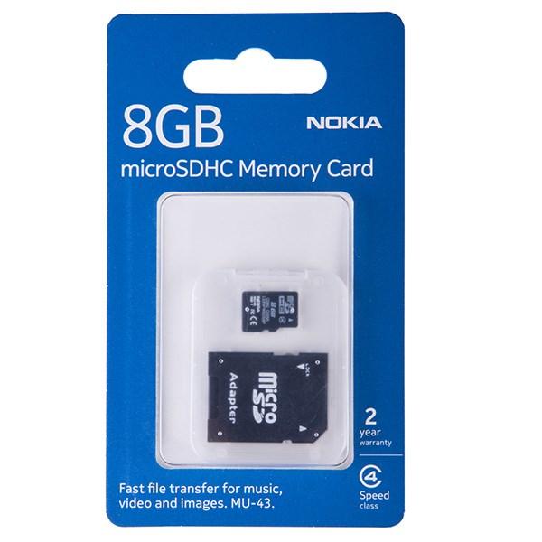 کارت حافظه microSDHC نوکیا مدل MU-43 کلاس 4 به همراه آداپتور SD ظرفیت 8 گیگابایت