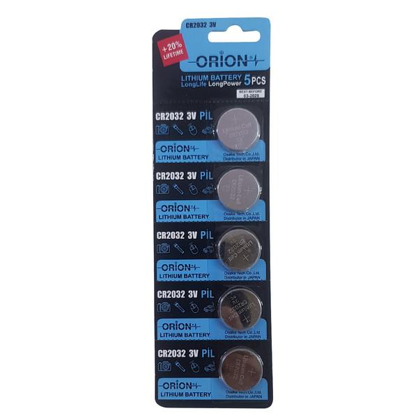 باتری سکه ای اوریون کد 2032 بسته 5 عددی