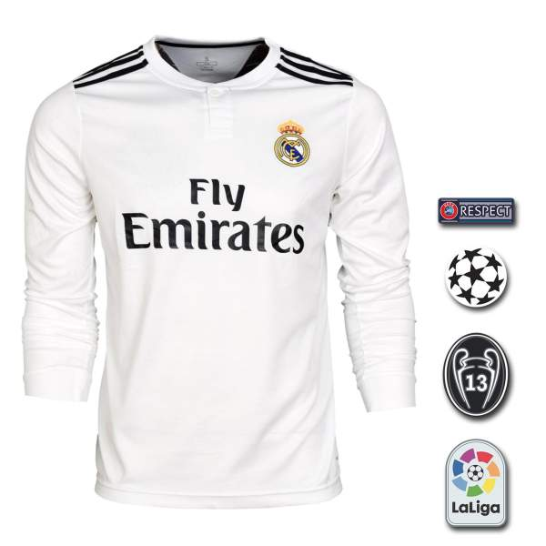 پیراهن ورزشی طرح رئال مادرید مدل Home18/19 به همراه تگ
