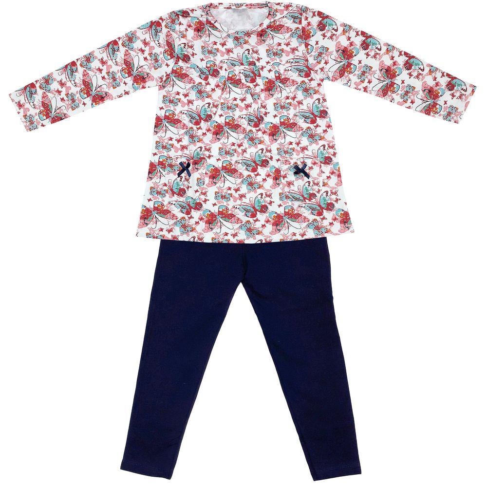 ست تی شرت و شلوار دخترانه طرح پروانه کد 3072 رنگ سفید