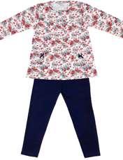 ست تی شرت و شلوار دخترانه طرح پروانه کد 3072 رنگ سفید -  - 1