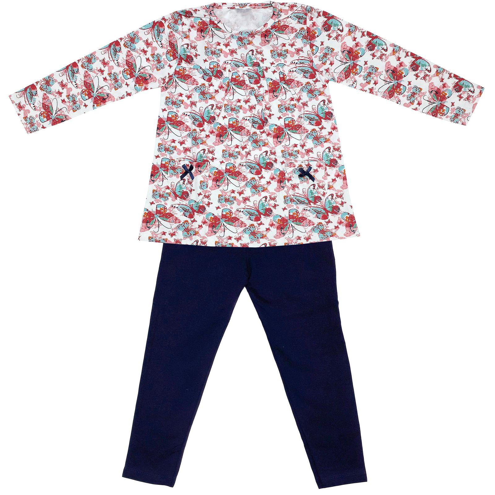 ست تی شرت و شلوار دخترانه طرح پروانه کد 3072 رنگ سفید -  - 2