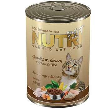 کنسرو گربه نوتری پت مدل Chunks In Gravy Chicken And Rice مقدار 425 گرم