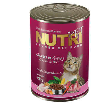کنسرو گربه نوتری پت مدل Chunks In Gravy Chicken And Beef مقدار 425 گرم