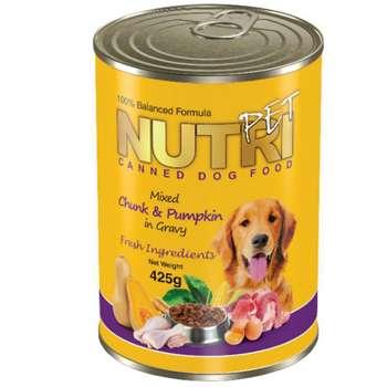 کنسرو سگ نوتری پت مدل Chunks & Pumpkin in Gravy مقدار 425 گرم