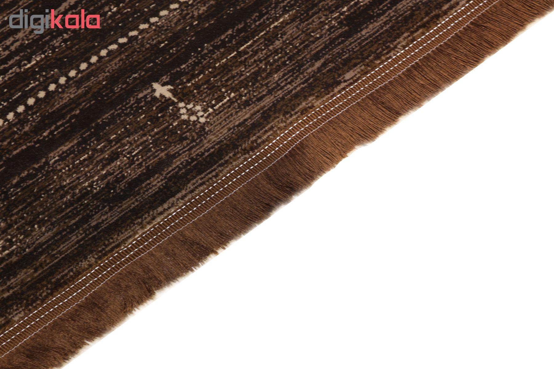فرش ماشینی فرش رادین طرح گبه 15 رنگ زمینه قهوه ای