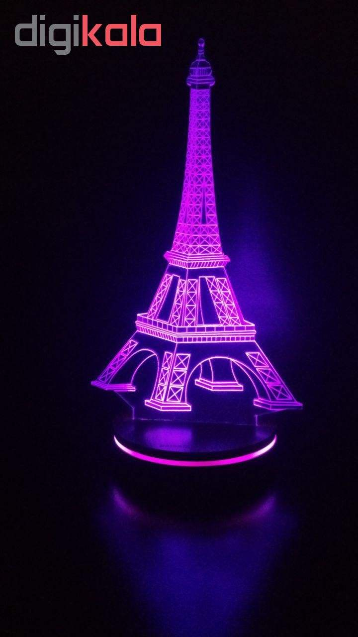 چراغ خواب سه بعدی پارسافن لیزر طرح برج ایفل 16 رنگ ریموت دار main 1 1