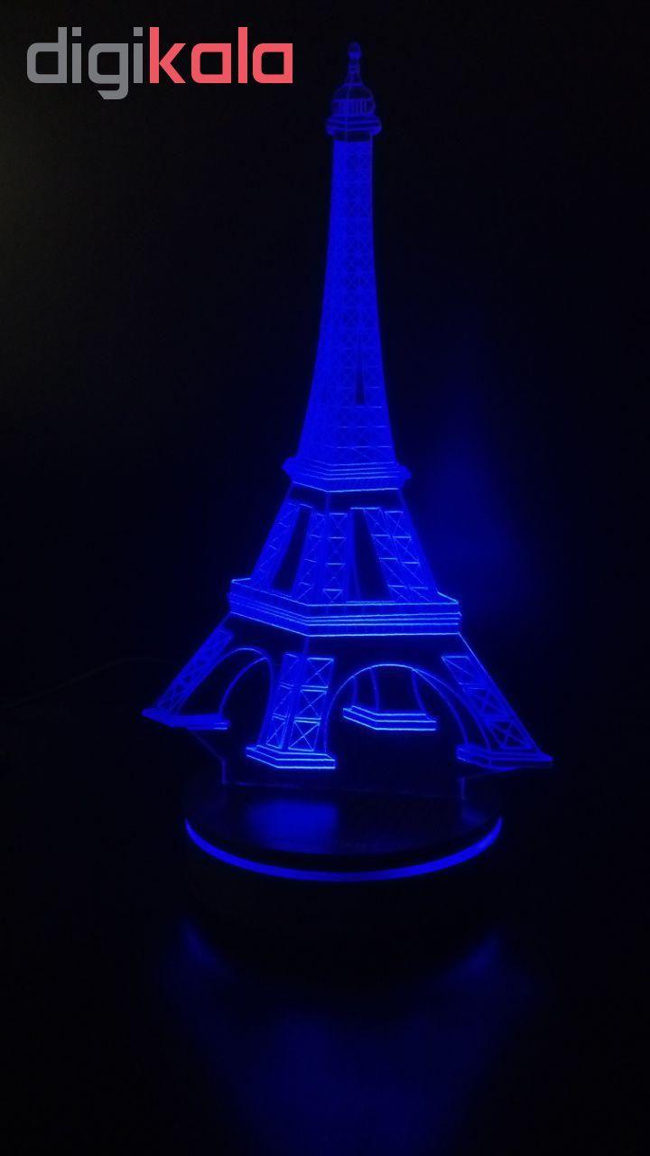 چراغ خواب سه بعدی پارسافن لیزر طرح برج ایفل 16 رنگ ریموت دار main 1 3