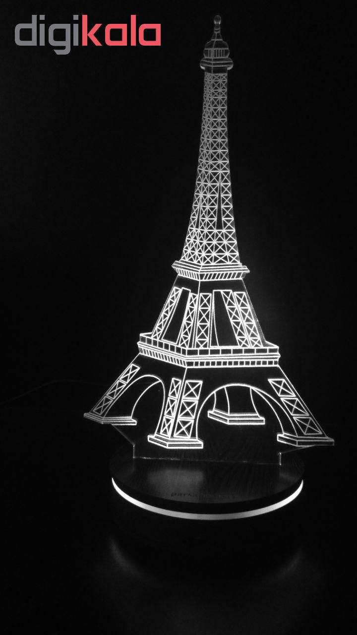 چراغ خواب سه بعدی پارسافن لیزر طرح برج ایفل 16 رنگ ریموت دار main 1 4