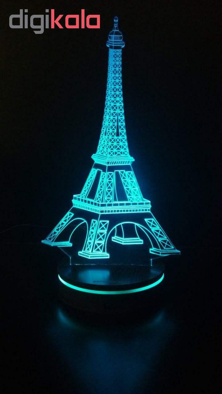 چراغ خواب سه بعدی پارسافن لیزر طرح برج ایفل 16 رنگ ریموت دار main 1 5