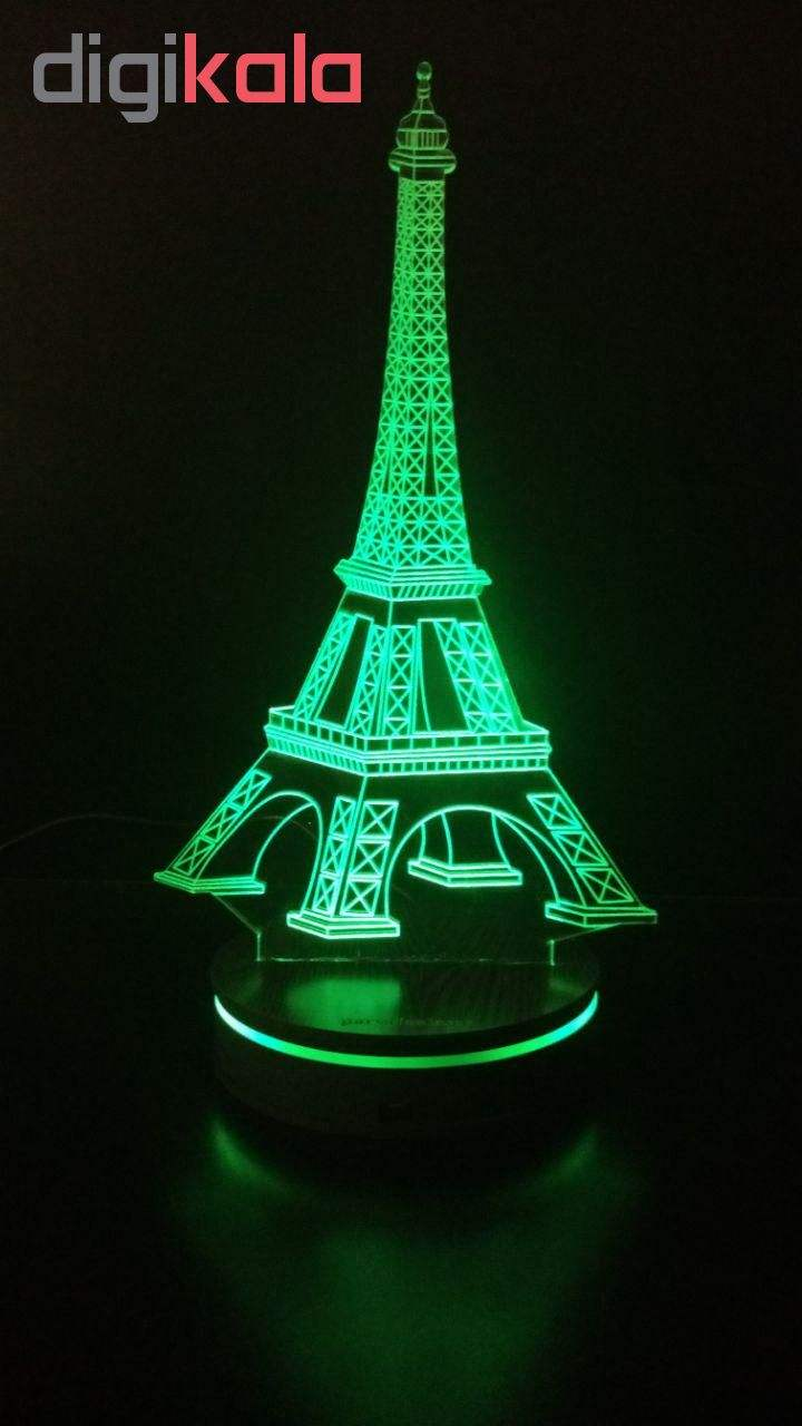 چراغ خواب سه بعدی پارسافن لیزر طرح برج ایفل 16 رنگ ریموت دار main 1 6