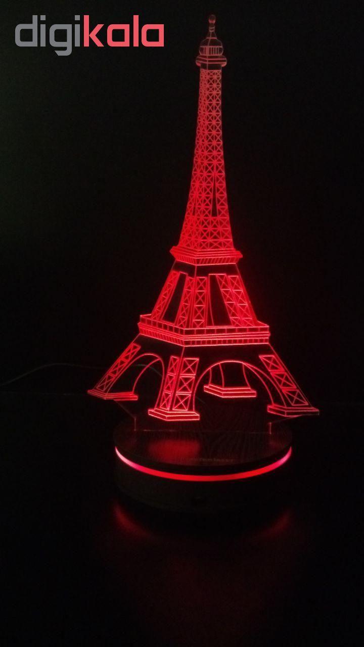 چراغ خواب سه بعدی پارسافن لیزر طرح برج ایفل 16 رنگ ریموت دار main 1 7
