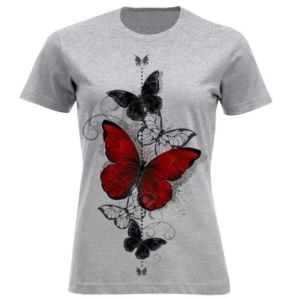تیشرت آستین کوتاه زنانه طرح پروانه کد F693