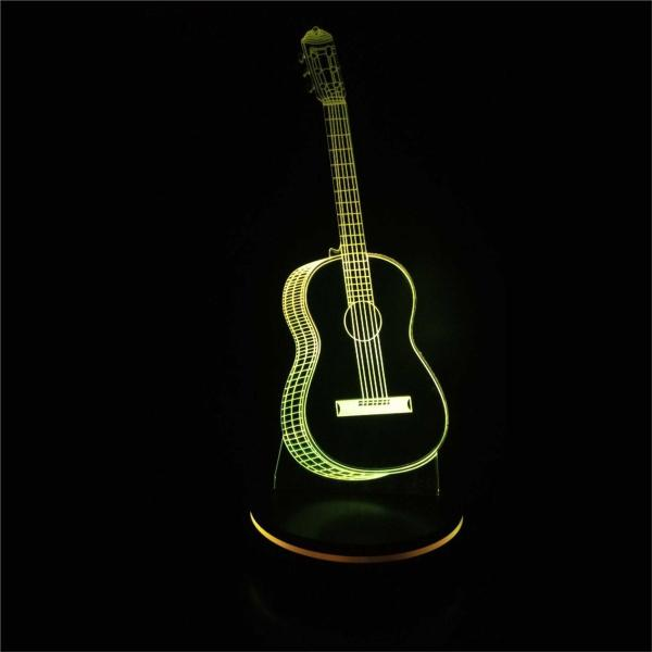 چراغ خواب سه بعدی پارسافن لیزر طرح گیتار 16 رنگ ریموت دار