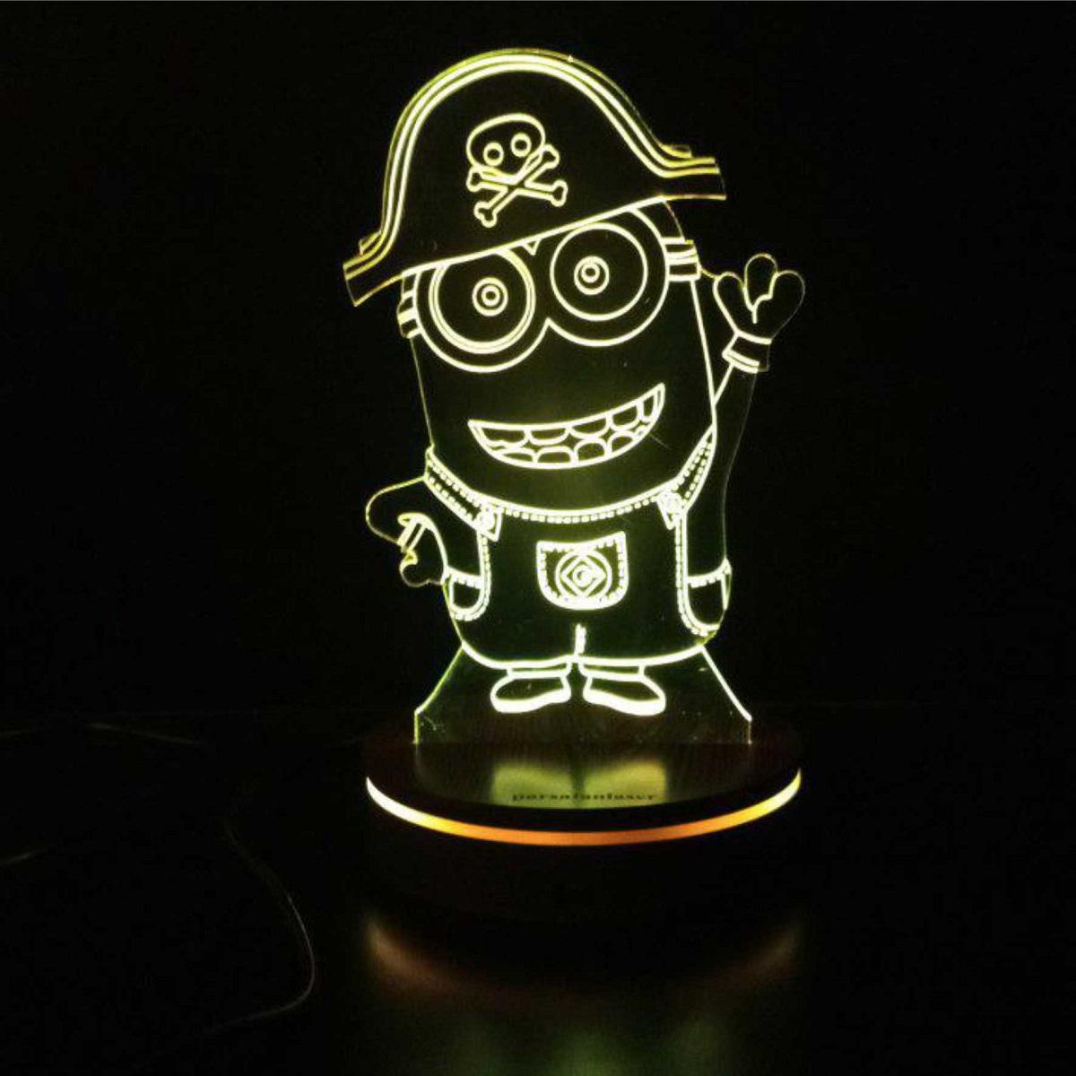 چراغ خواب کودک پارسافن لیزر طرح کارتونی مینیون دزد دریایی