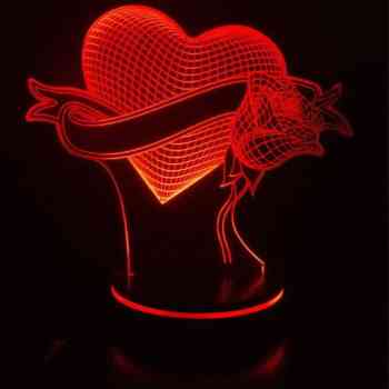چراغ خواب سه بعدی پارسافن لیزر طرح عاشقانه قلب و گل |