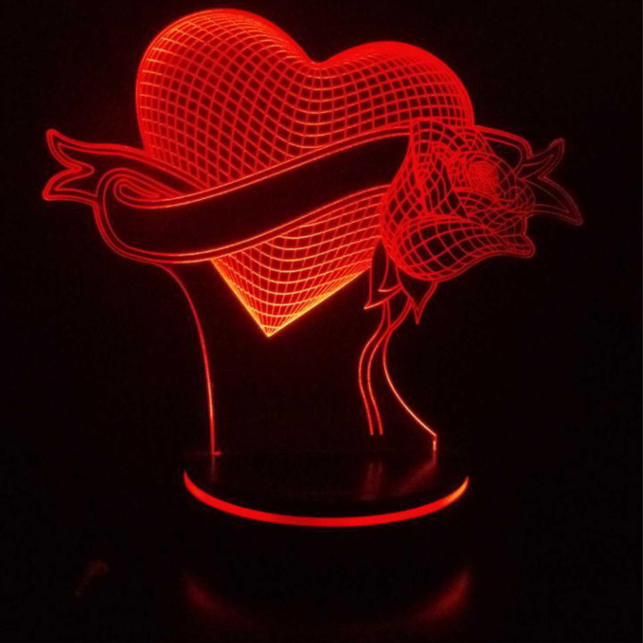 چراغ خواب سه بعدی پارسافن لیزر طرح عاشقانه قلب و گل