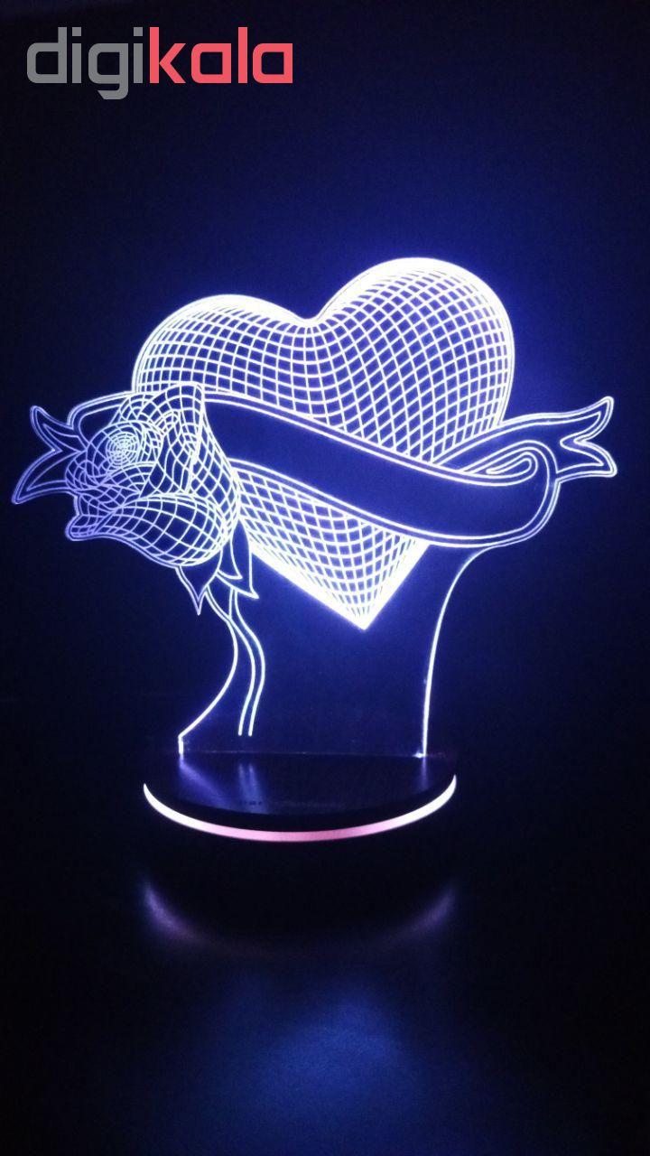 چراغ خواب سه بعدی پارسافن لیزر طرح عاشقانه قلب و گل 16 رنگ ریموت دار