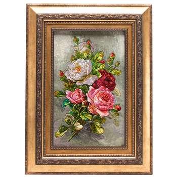 تابلو فرش دستباف دسته گل رز برجسته سی پرشیا کد 901413  