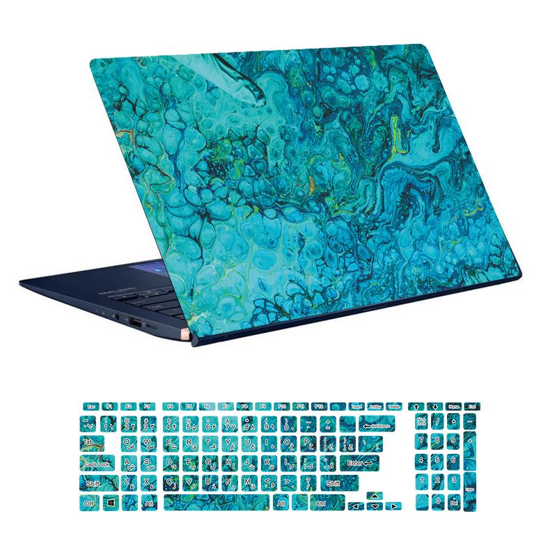 استیکر لپ تاپ توییجین و موییجین طرح Colorful کد 63 مناسب برای لپ تاپ 15.6 اینچ به همراه برچسب حروف فارسی کیبورد