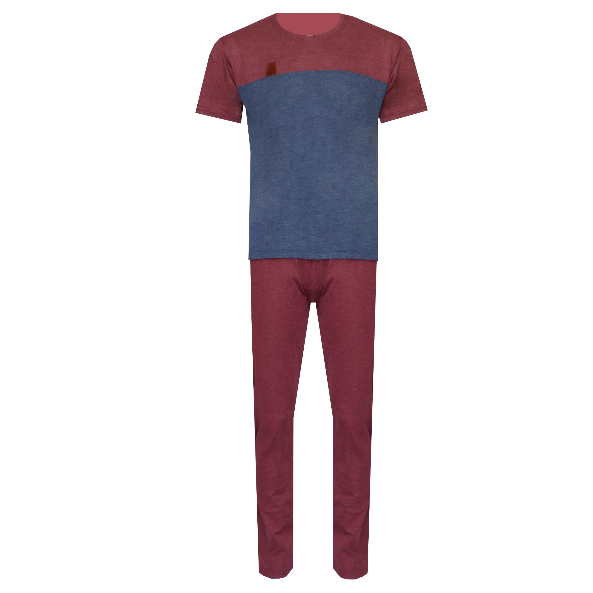 ست تی شرت و شلوار مردانه لباس خونه کد 990730 رنگ زرشکی