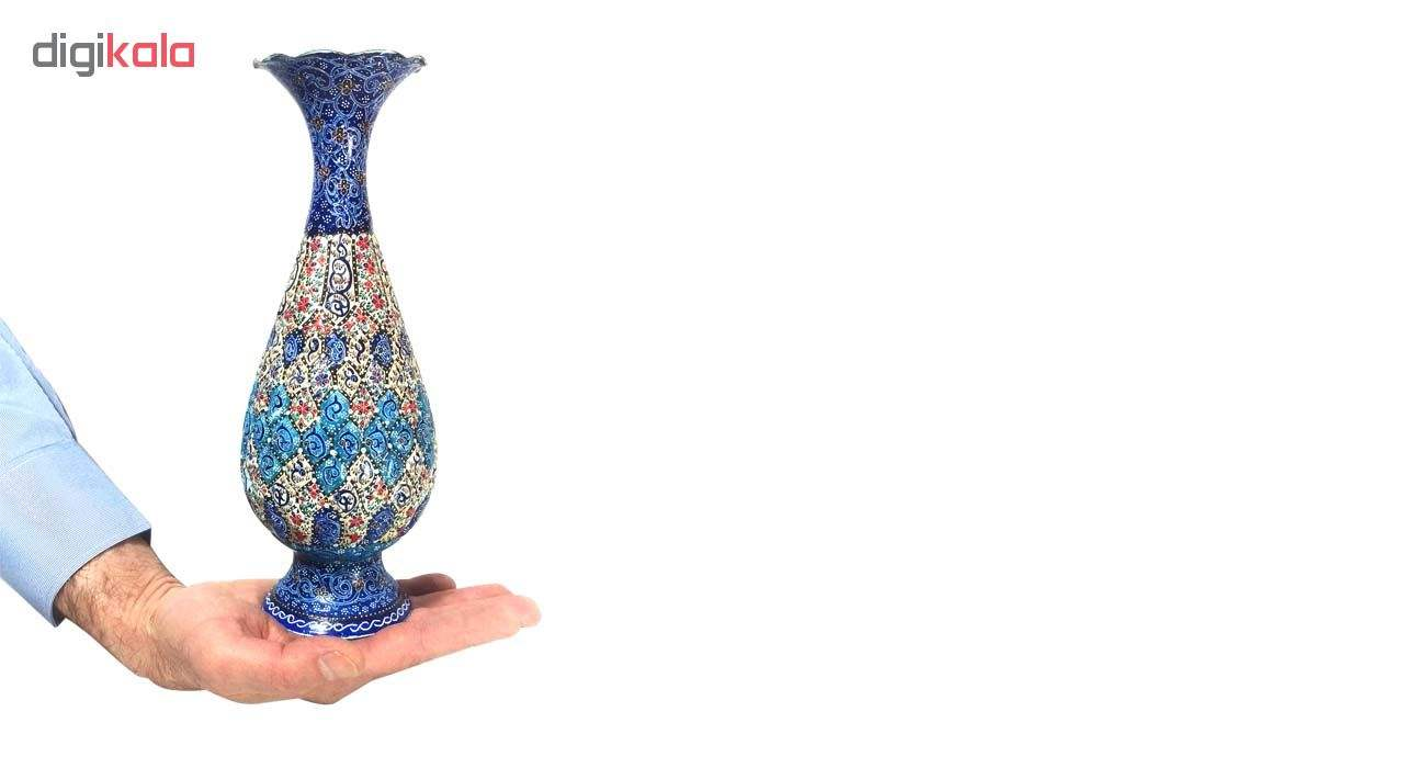 گلدان میناکاری لوح هنر طرح اسلیمی ختایی کد 677 ارتفاع 20 سانتی متر