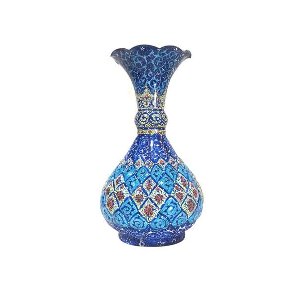گلدان میناکاری لوح هنر طرح اسلیمی خمره ای کد 680 ارتفاع 16 سانتی متر