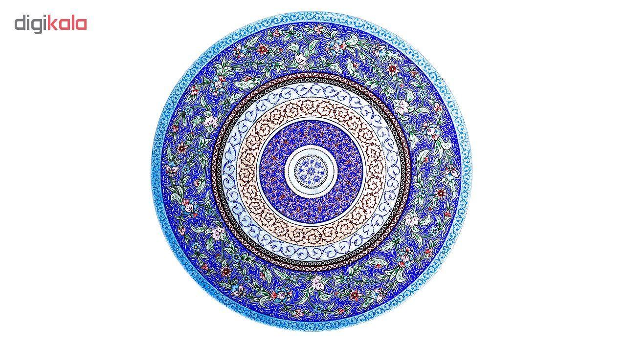 بشقاب مسی میناکاری اثر لطیفیان طرح باغ بهشت مدل 01-08 قطر 30 سانتیمتر