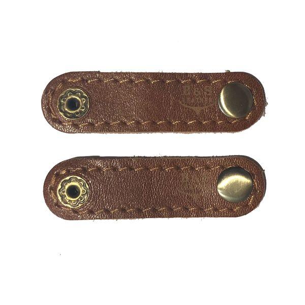 نگهدارنده کابل هندزفری و شارژ چرم طبیعی – دست دوز مدل EA بسته 2 عددی رنگ عسلی B&S Leather