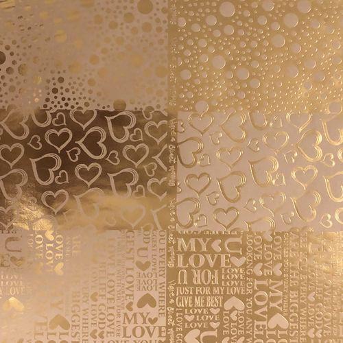 کاغذ کادو کرافت طرح قلب طلاکوب بسته 3 عددی