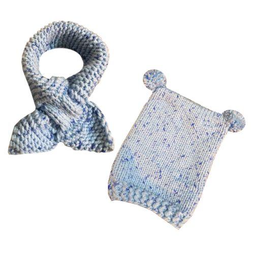 ست کلاه و شال گردن نوزاد طرح آسمان آبی