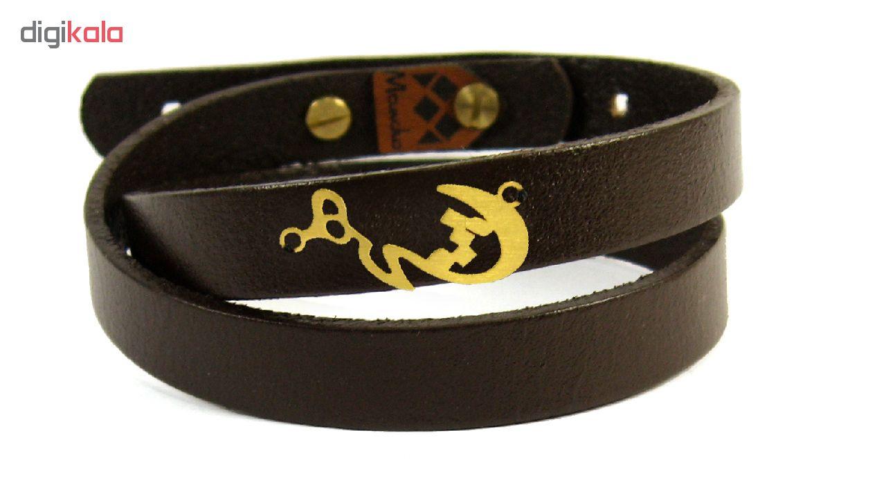 دستبند چرم و طلا 18عیار مانچو مدل bfg072