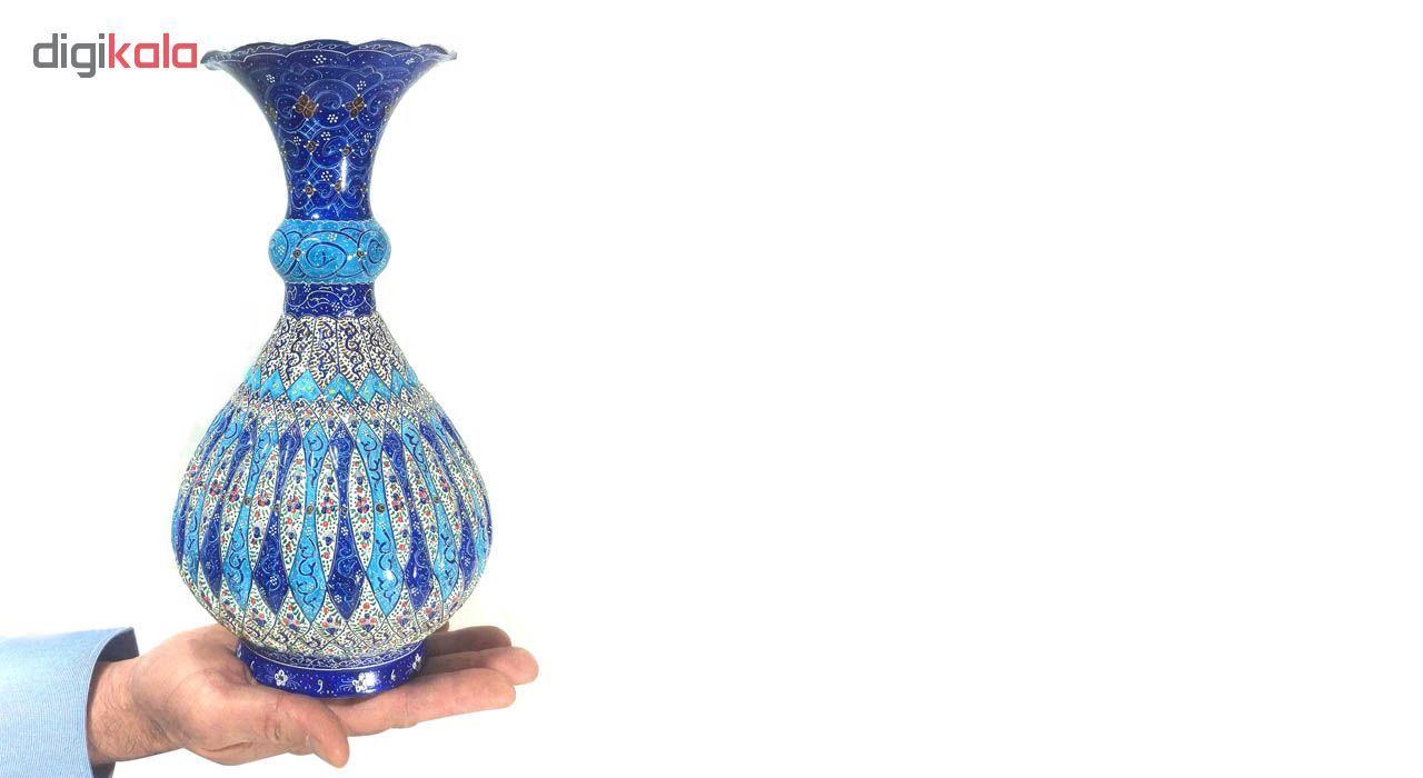 گلدان میناکاری لوح هنر طرح اسلیمی خمره ای کد 684 ارتفاع 28 سانتی متر