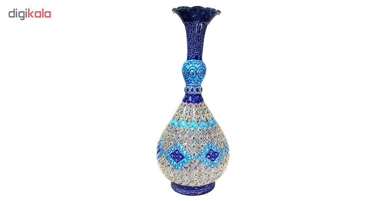 گلدان میناکاری لوح هنر طرح اسلیمی خمره ای کد 686 ارتفاع 47 سانتی متر