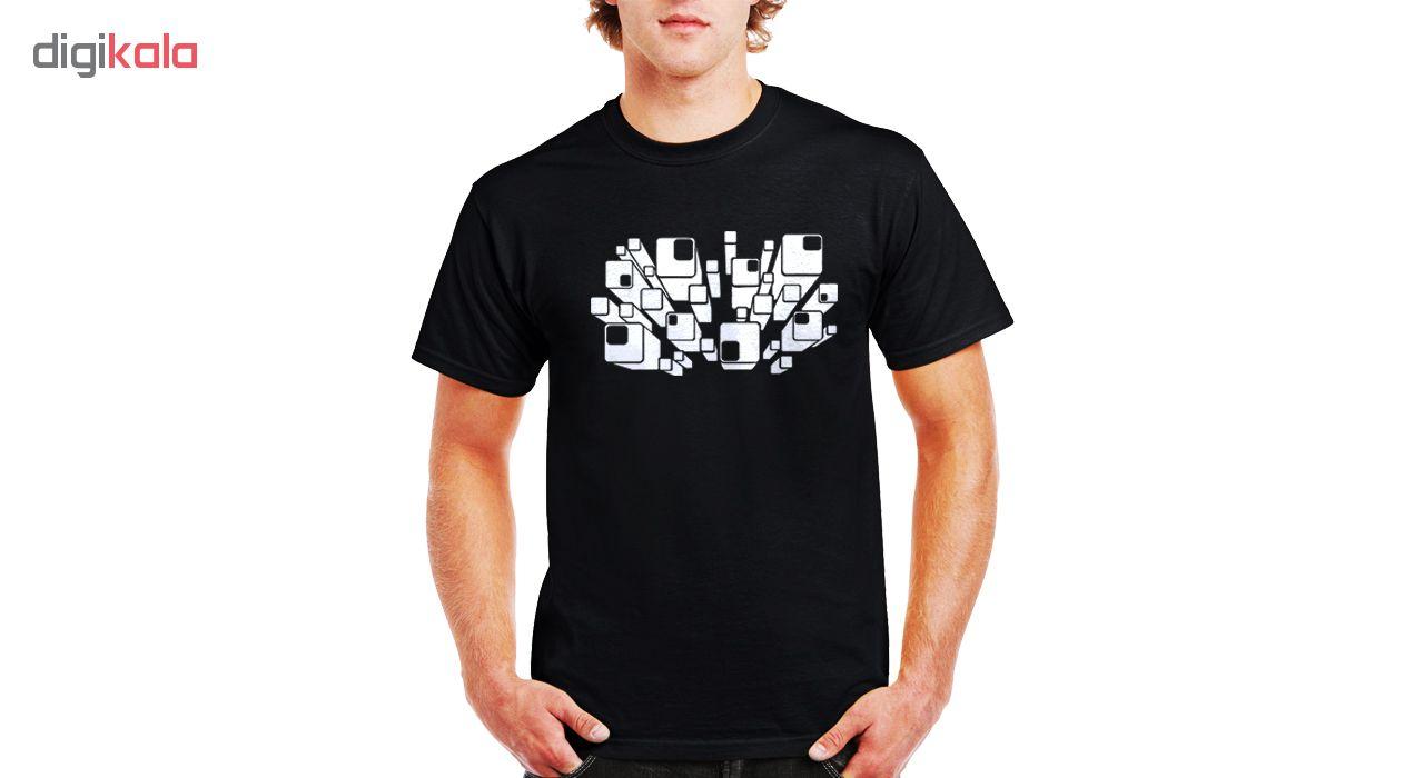 تی شرت مردانه نخی فلوریزا  طرح سه بعدی مکعب کد 3D qube 001M تیشرت