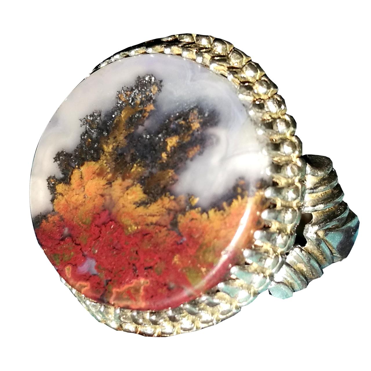 انگشتر نقره مردانه عقیق شجر کد 360 |