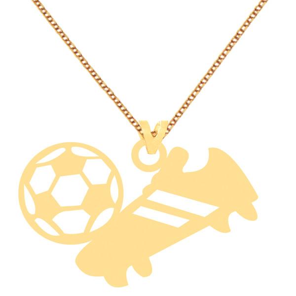 گردنبند طلا 18 عیار زنانه کرابو طرح کفش و توپ فوتبال مدل Kr70620