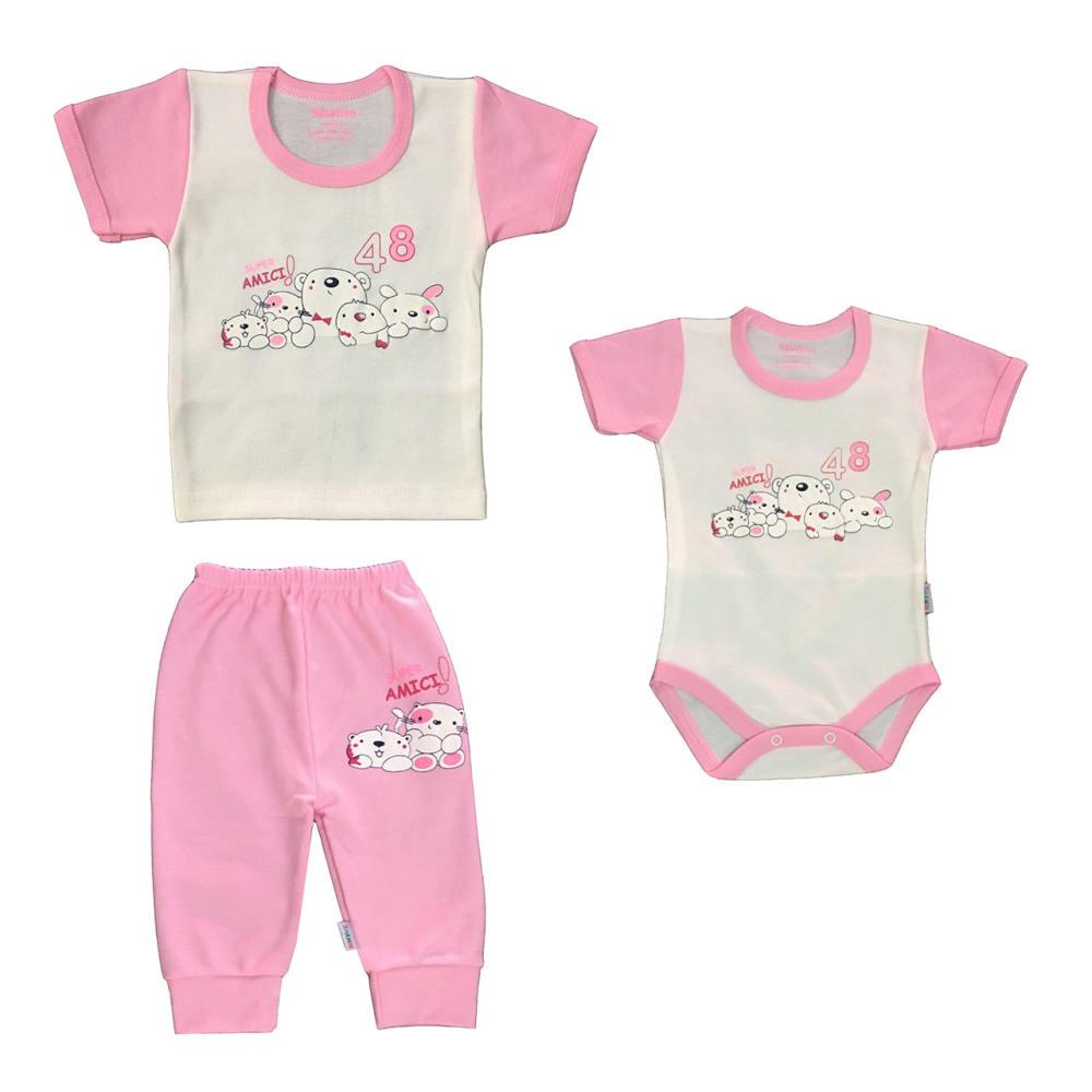 ست 3 تکه لباس نوزادی دخترانه شاهین طرح امیکی کد P