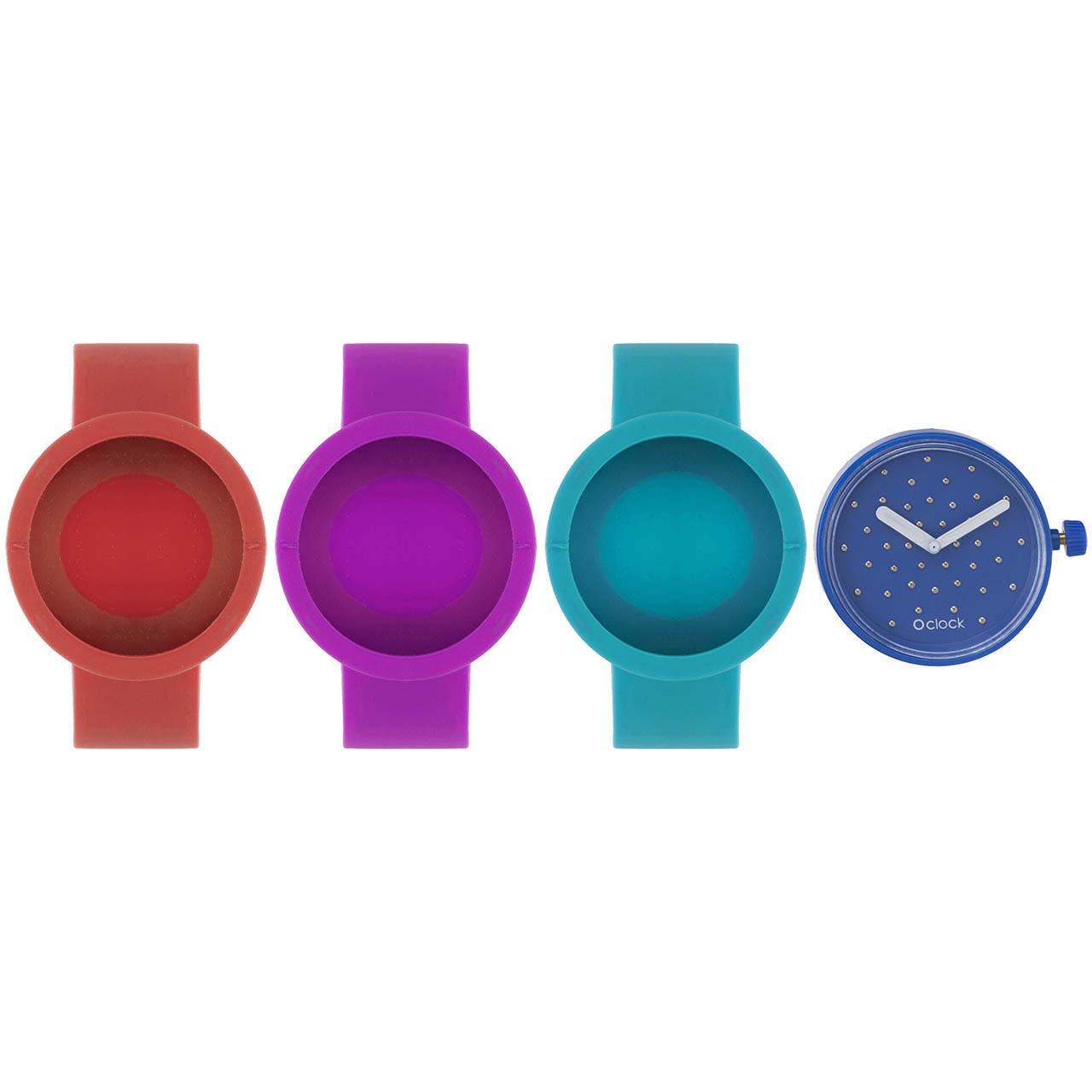ساعت مچی عقربه ای زنانه او کلاک مدل dial crystal Blu elettrico