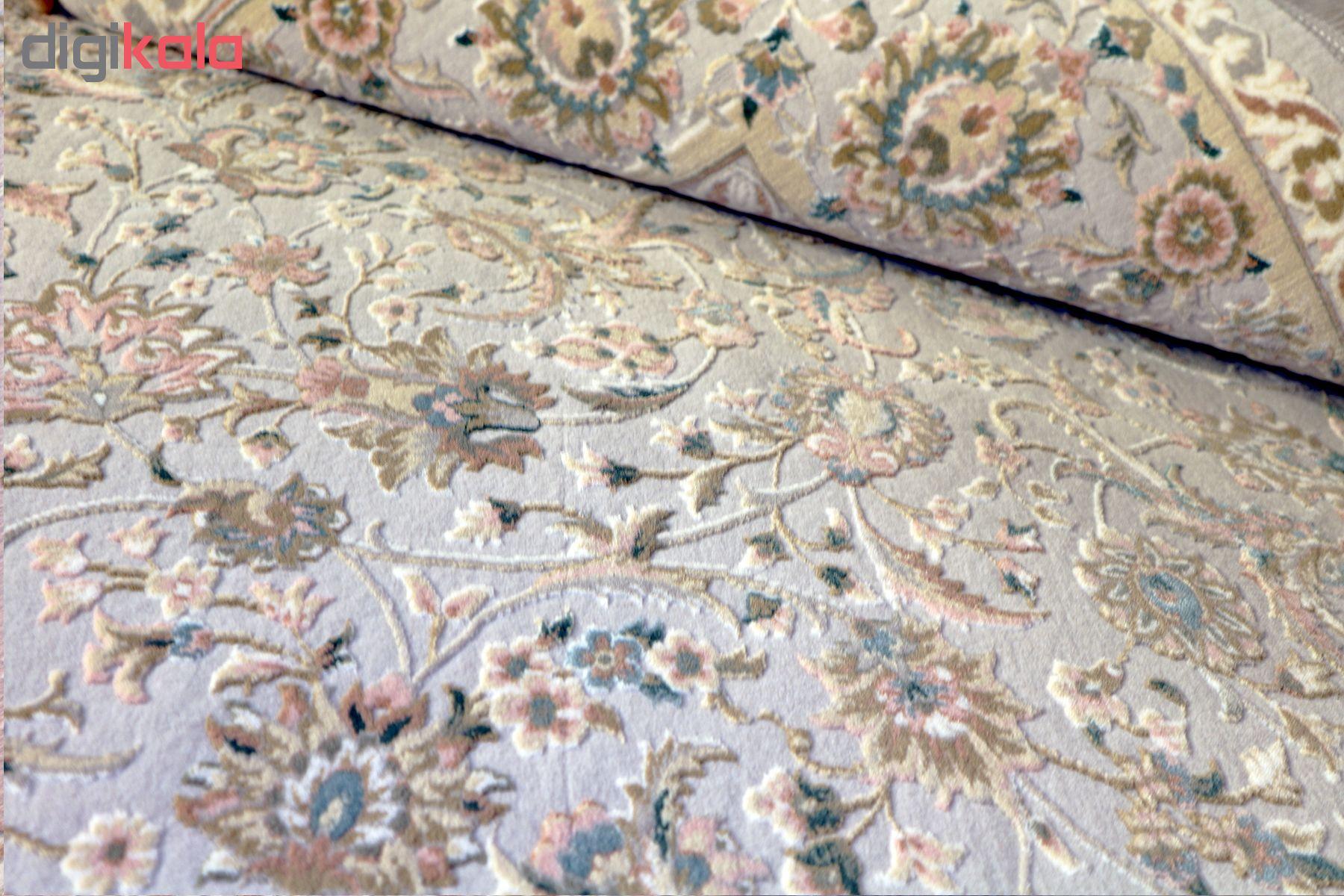 فرش ماشینی فرش رادین طرح شاه عباسی آرامش 2 زمینه رنگ زمینه طوسی