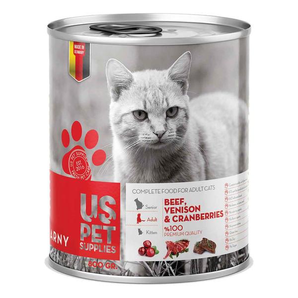 کنسرو غذای گربه یو اس پت مدل Cranberries مقدار 800 گرمی