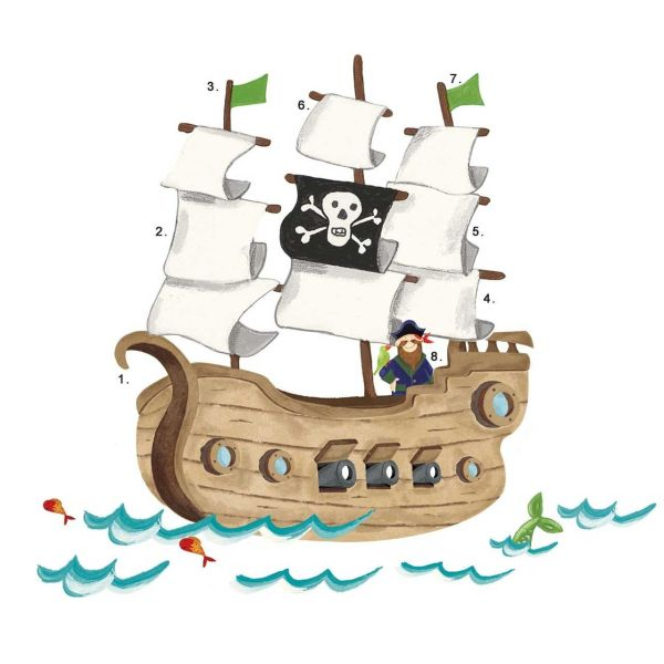 استیکر رومیت مدل Pirated Ship Giant Wall Decals