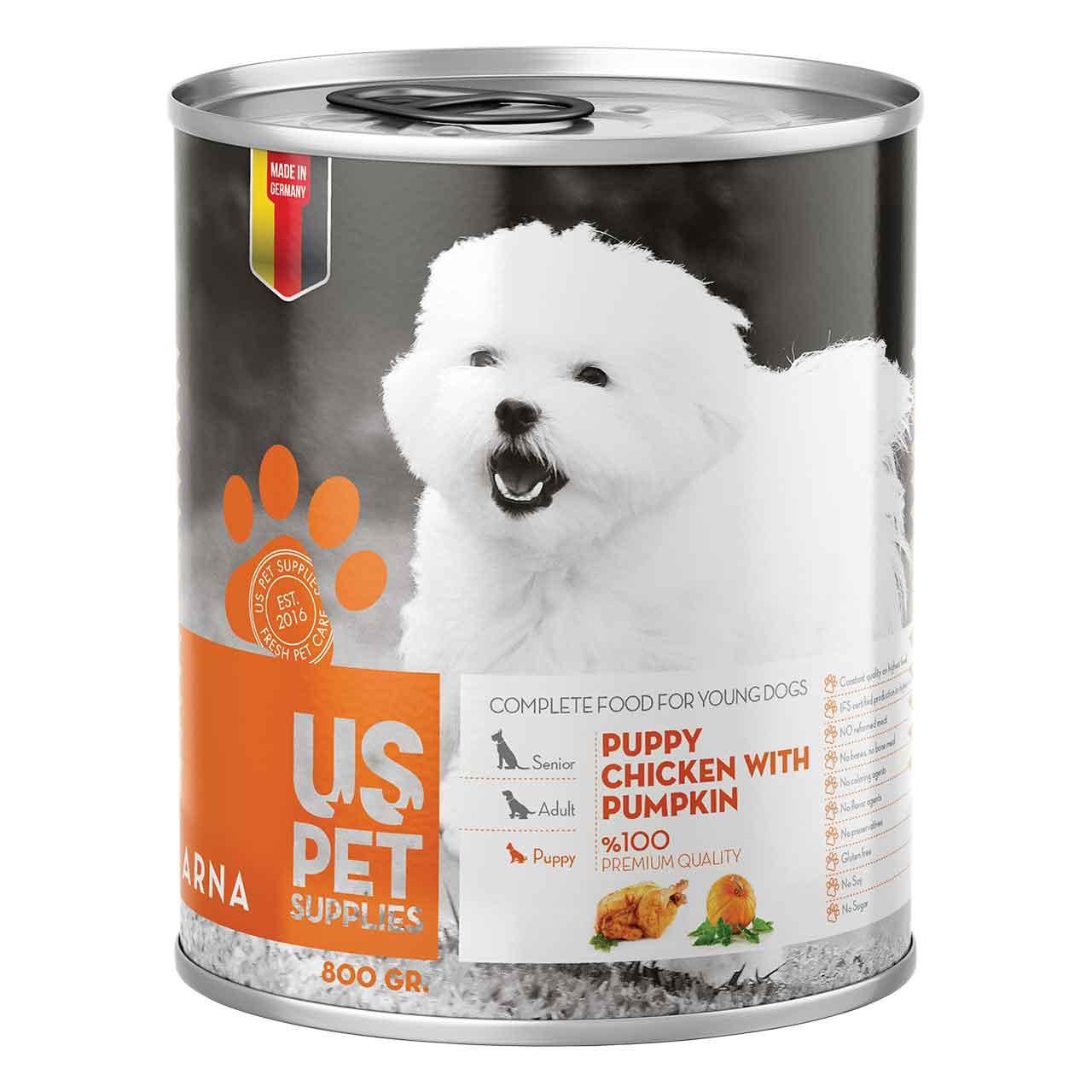 کنسرو غذای سگ یو اس پت مدل Pumpkin مقدار 400 گرمی