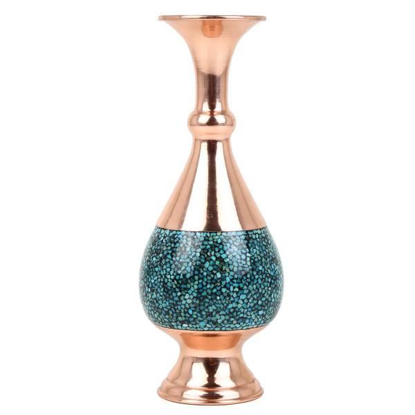 گلدان صراحی فیروزه کوب کد 012 ارتفاع 20سانتی متری