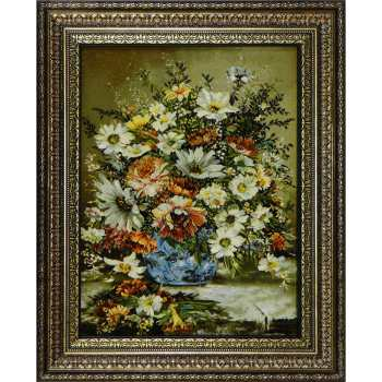 تابلوفرش دستباف آنافرش طرح گل و گلدان آبی کد 10170