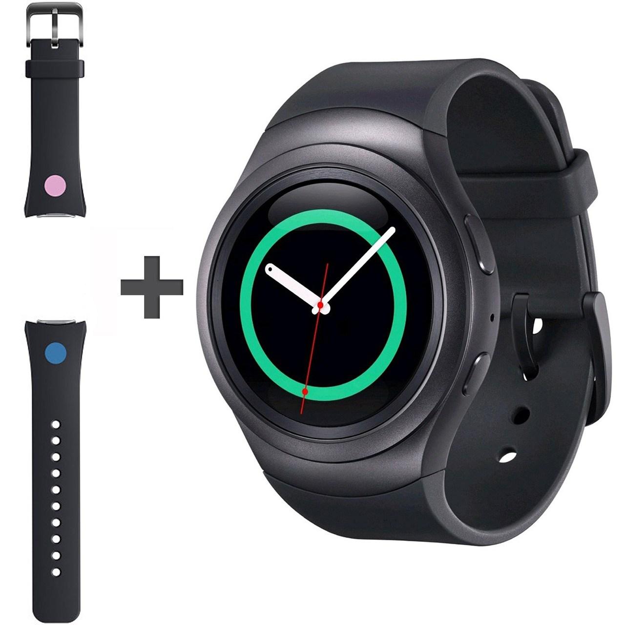 ساعت هوشمند سامسونگ مدل Gear S2 SM-R720 Dark Gray به همراه بند لاستیکی اضافه
